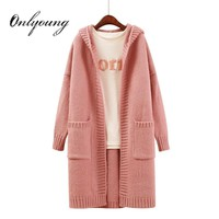 Onlyoung 2018 Autumn Winter Women Long Knitted Cardigan Warm Pull Femme Long Sleeve Crochet Pink Long Hooded Sweater