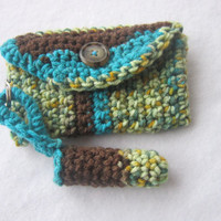 Crochet Purse Pouch and Lip Balm Cozy, Teal and Brown Matching Pouch and Lip Balm Holder Set, Tissue Holder, Lip Balm Keychain