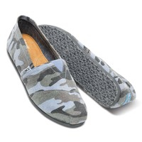 Toms Casual Slip Ons Mens Classic Canvas Shoes Camo Blue