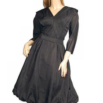 Vintage Dress Bubble Gown Black Silk Satin Seymour Jacobson 1940s