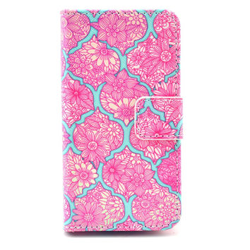 Leather Iphone 5C Flip Case Card Holder (Pink)