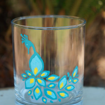Peacock Regular Small Glass -  Hand Painted Peacock Regular Small Glass