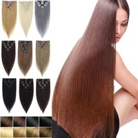 100% Natural Unprocess Hair! Real Thick Hair clip in Hair Extensions as Women Hair Sexy Straight Hair
