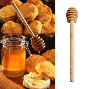 2x  Wooden Honey Dipper Wooden Stick Spoon Dip Drizzler Server 145mm Long HU