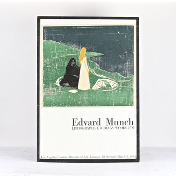 Vintage Edvard Munch 1969 Exhibition Art Tour Original Poster Framed, Edvard Munch Los-Angeles County Museum Of Art Poster