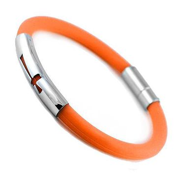 Stainless Steel And Orange Rubber Bracelet With Cut Out Cross Design