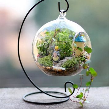 Trendy Glass Ball Lantern Cabin Micro Landscape Hanging Stand Romantic Iron Wedding Candle Holder Candlestick VB505 P18