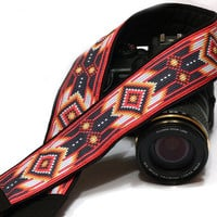 Native American Camera Strap (inspired). DSLR, SLR Camera Strap. Black and Red Camera Strap. Gift Idea. Camera Accessories