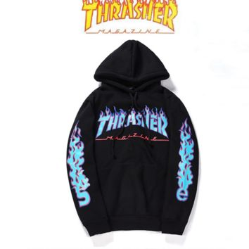 THRASHER Flame Sweater Hoodie Tide men and women on the streets of the long sleeve loose loose head personality sweater Black