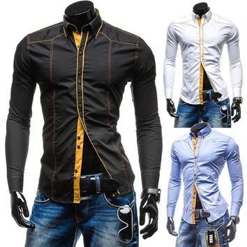 Long Sleeve Men's Fashion Slim Shirt [10831835651]