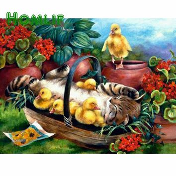 5D Diamond Painting Kitten and the Ducks Kit