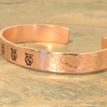 Hammered Copper Owl Cuff Bracelet with space to Personalize or Custom Engrave
