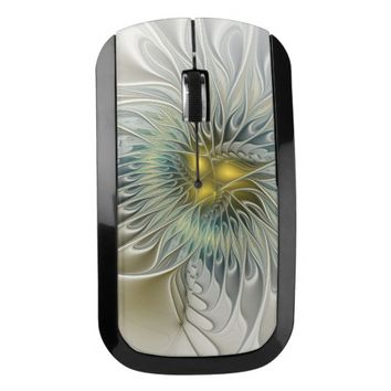 Golden Silver Flower Fantasy abstract Fractal Art Wireless Mouse