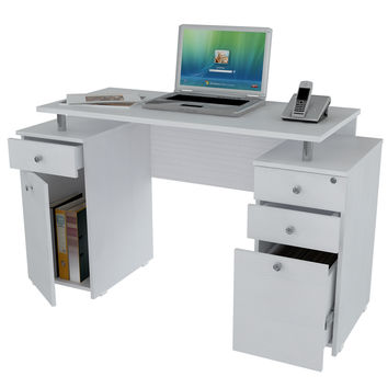 Laricina-White Computer Desk with File Drawer
