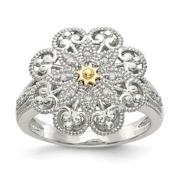 Sterling Silver Two Tone Silver And Gold Plated Sterling Silver w/Diamond Vintage Ring