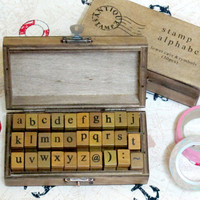 Wood Rubber Stamp set - Vintage lower case alphabets set (30 pcs)