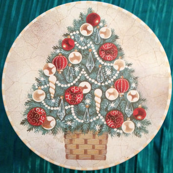 """CHRISTMAS TREE TIN - """"Have Christmas All The Time"""" - Wonderful Colors - Beautiful Symbol - Pristine Vintage"""
