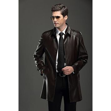 NEW ! 2017 autumn winter men's brand fashion leather jacket and long sections Leisure lapel leather trench coat / M-3XL
