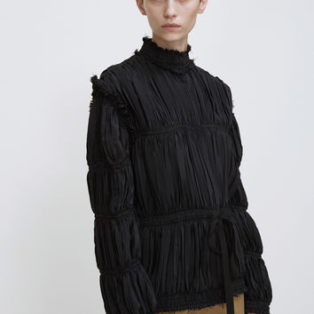 Totokaelo - J.W. Anderson Black Pleated Light Crepe Jacket - $1,320.00