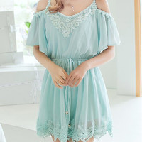 Light Green Spaghetti Strap Short Sleeve Chiffon Mini Dress