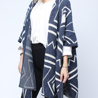 'The Kaylee' Blue Geometry Patterned Cardigan