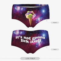 Women's 3D Lick Itself Printing Briefs Underpants Lingerie High Waist Underwear Panties [8833674124]