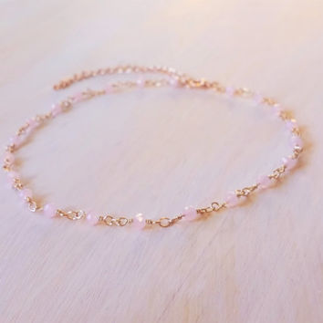 Pink beaded choker, rosary necklace, beaded chain choker necklace