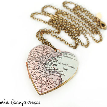 Boston Antique Map Locket Necklace - Large Vintage Heart Locket, Antique Map Jewelry, Massachusetts
