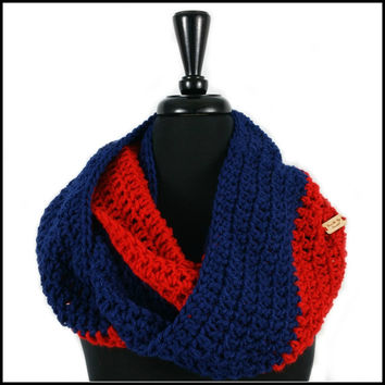 Red & Navy Blue Infinity Scarf
