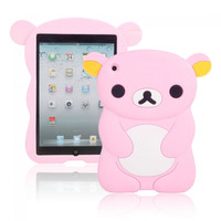 Lovely Bear Modeling Silicone Protective Case for iPad mini Pink - Default