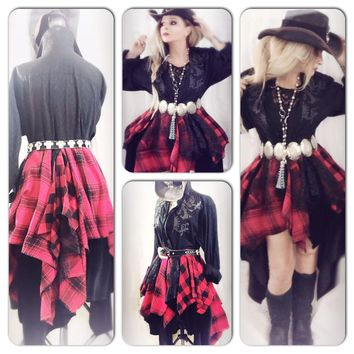 Red black flannel duster, love lemon hi low, gypsy spell holiday, True Rebel Clothing