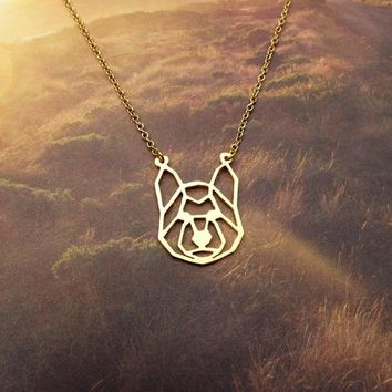 New Trendy Gold Silver Personalized Siberian Husky Origami Necklace Animal Pendant Hunger Games Necklace Women Best Friend