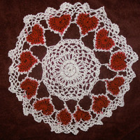 handmade crocheted ring of hearts doily by CanadianCraftCritter