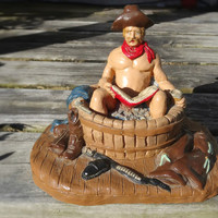 1970s Naked Cowboy in Bath Jo Marcos, Alfred Western Statue // Rare