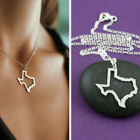 Texas State - Texas Necklace - Texas Charm - Sterling Silver Texas Outline