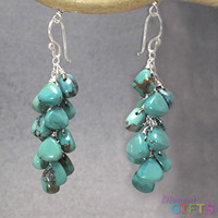 """Turquoise drops linked together, 1-1/2"""" Earring Gold Or Silver"""