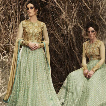 Raw Silk Green Incredible Unstitched Salwar Kameez