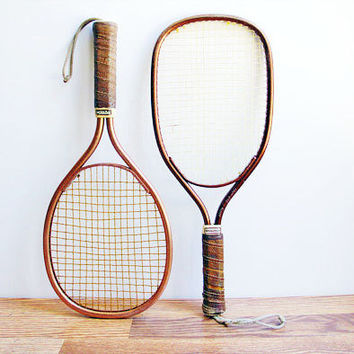 Set of 2 Vintage Copper Colored Racquetball Racquets / Sports Memorabilia / Wall Decor / Retro / Sport / Sporting / Games