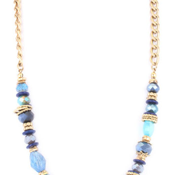 Glass Bead Jewel Necklace-Blue