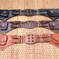 Leather Utility Belt / Travel Belt Hip Bag / iphone Pocket & Pouches - The Jedi