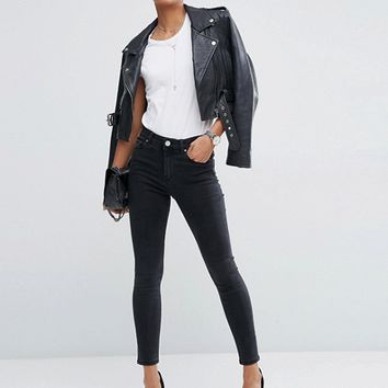 ASOS RIDLEY High Waist Skinny Jeans In Washed Black at asos.com