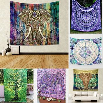 LMF9GW Indian Elephant Mandala Hippie Wall Hanging Tapestry Gypsy 2016 Newest Bedspread Throw Yoga Mat Table Cloth Home Decor 150*130cm