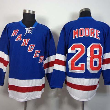 Rangers #28 Dominic Moore Blue Ice Hokcey Jerseys 2014 New Jersey Name Number Stitched On Top Quality Mens Hockey Wears Best Christmas Gifts