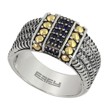 Effy Balissima 18 Kt. Yellow Gold and Sterling Silver Sapphire Ring