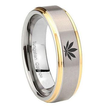8MM Step Edges Leaf 14K Gold IP Tungsten 2 Tone Laser Engraved Ring