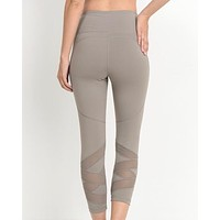 active hearts - high waist zigzag mesh panel capri sports leggings