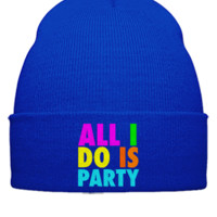 al i do is party embroidery - Beanie Cuffed Knit Cap