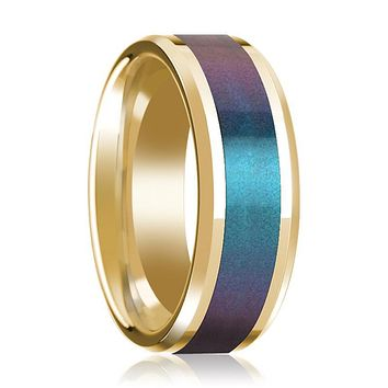 14K Yellow Gold Mens Wedding Band with Blue/Purple Color Changing Inlaid Beveled Edges Polished
