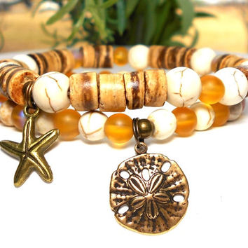 Coco Wood with Sand Dollar and Starfish Charms.