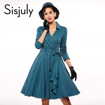 Sisjuly Vintage dress 1950s spring summer Skater V Neck Turn Down Collar A line wommen Party Dresses 2017 female Vintage Dress